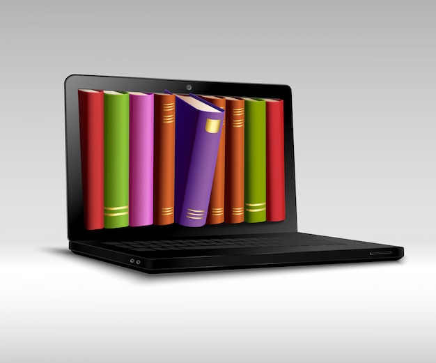 Digitales bibliothekskonzept Kostenlosen Vektoren
