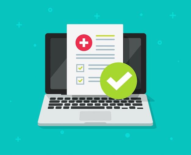 Digitales dokument der medizinischen verordnung oder on-line-testergebnisse berichten über flache karikatur des laptop-computer schirmes Premium Vektoren