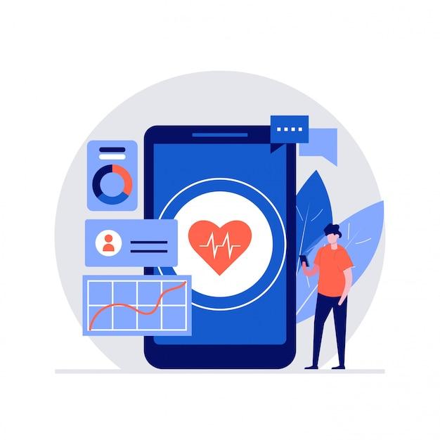Digitales gesundheitsillustrationskonzept mit zeichen. moderner stil für landingpage, mobile app, poster, flyer, vorlage, webbanner, infografiken, heldenbilder Premium Vektoren