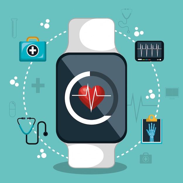 Digitales gesundheitswesen lokalisiertes ikonendesign Premium Vektoren