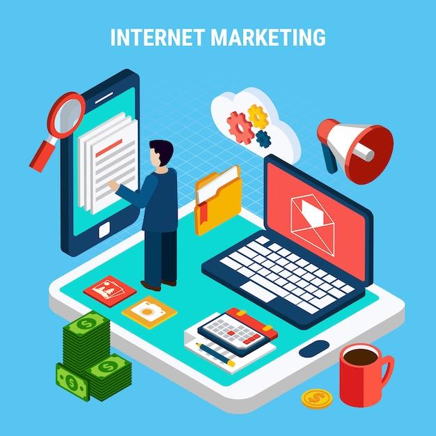 Digitales internet-marketing isometrisch mit verschiedenem gerätekalendergeld auf blauer illustration 3d Kostenlosen Vektoren