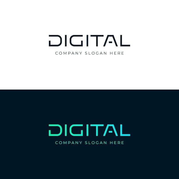 Digitales logo. digitales beschriftungswort. emblem. logo-vorlage Premium Vektoren