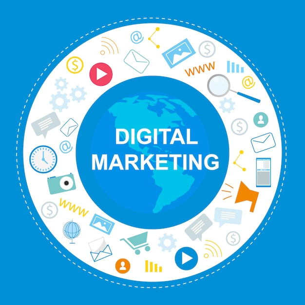 Digitales marketing-banner. internet-symbol, sozialmedia Premium Vektoren