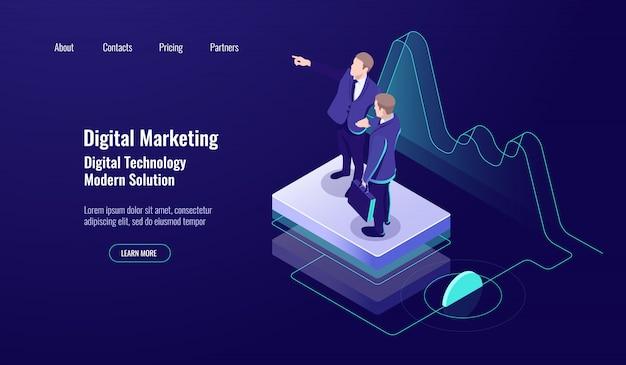 Digitales marketing der analytik, isometrisches konzept, teamarbeit, geschicklichkeit lehren, studienarbeiter, dunkles neon Kostenlosen Vektoren