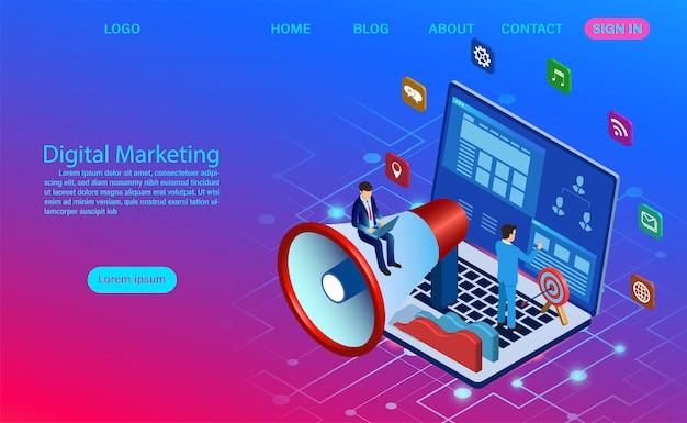 Digitales marketing für banner und website. geschäftsanalyse, content-strategie und management. flache illustration der digitalen medienkampagne mit ikone Premium Vektoren