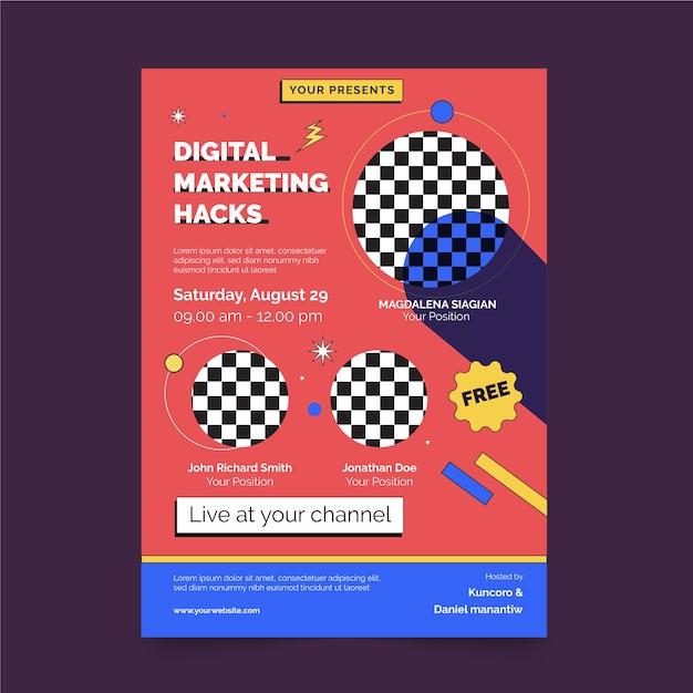 Digitales marketing hackt posterdruckvorlage Premium Vektoren