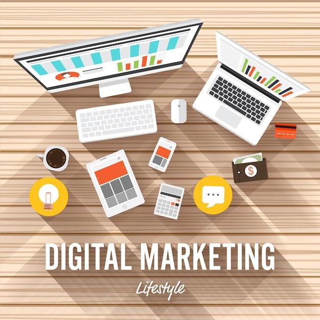 Digitales marketing illustrationen Premium Vektoren