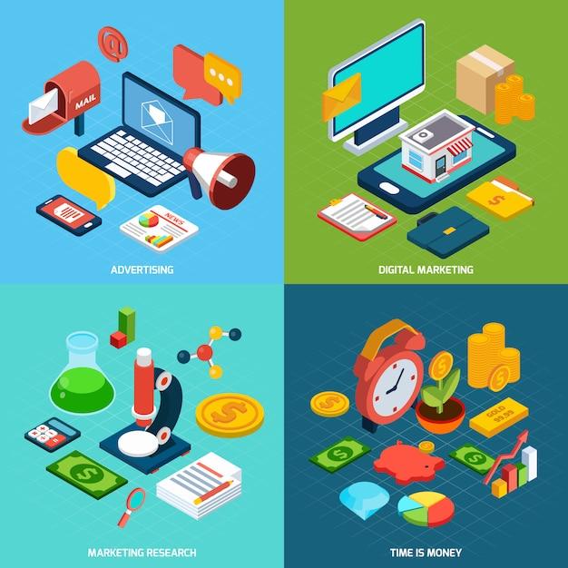 Digitales marketing isometrisch Kostenlosen Vektoren