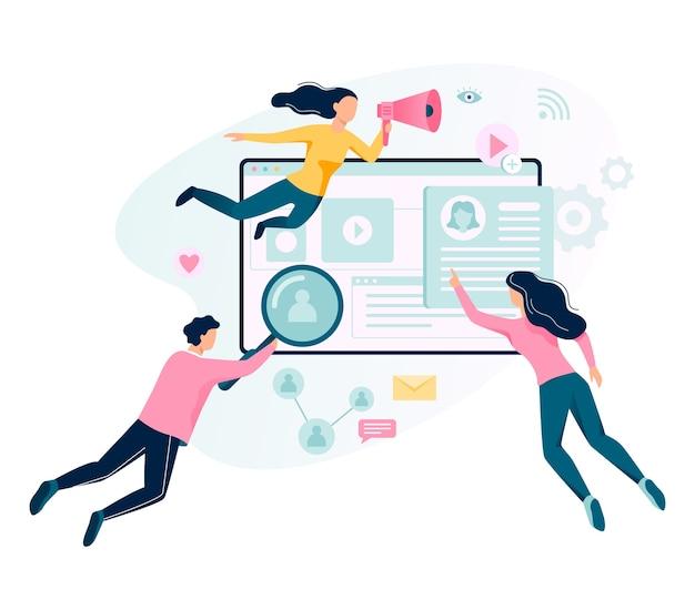 Digitales marketing-konzept-banner. soziale netzwerk- und medienkommunikation. seo, sem und online-werbung. illustration mit stil Premium Vektoren