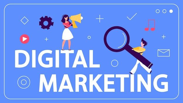 Digitales marketing-konzept-banner. soziales netzwerk, medien Premium Vektoren