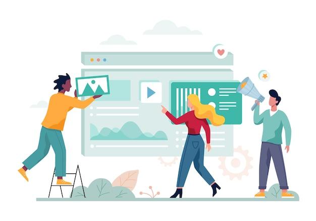 Digitales marketing-konzept-banner. soziales netzwerk und medien Premium Vektoren