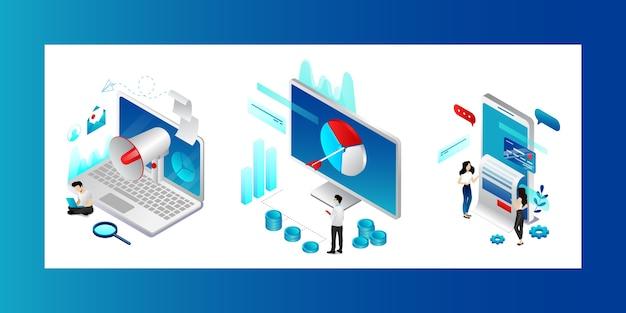 Digitales marketing-konzept. charaktere, die nach trends, strategien und möglichkeiten der produktwerbung suchen. männer und frauen erreichen geschäftsziele in der social media-werbung. Premium Vektoren