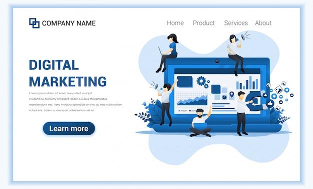 Digitales marketing mit charakteren. kann für web-banner, content-strategie, infografiken, landingpage, web-vorlage verwenden. flache darstellung Premium Vektoren