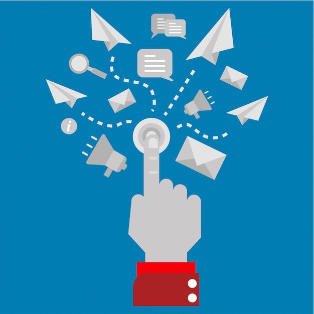 Digitales marketing mit einem klick Premium Vektoren