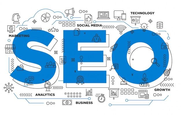 Digitales marketing seo ikonischen hintergrund Premium Vektoren