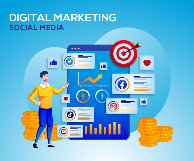 Digitales marketing social media und datenanalyse Premium Vektoren