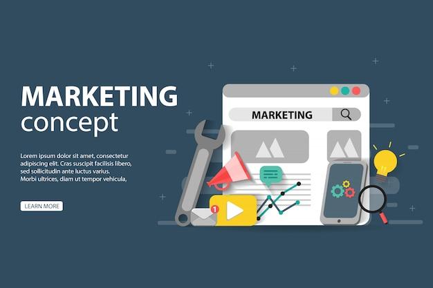 Digitales marketing, teamwork, geschäftsstrategie und analytik für die entwicklung von websites und mobilen websites Premium Vektoren