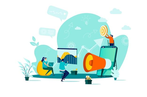 Digitales marketingkonzept mit stil mit personencharakteren in der situation Premium Vektoren