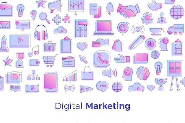 Digitales marketingkonzept Premium Vektoren