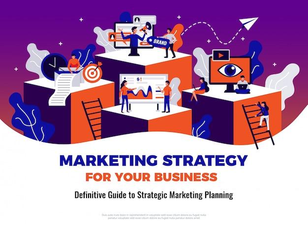 Digitales marketingplakat mit führung und planungssymbolen flach Kostenlosen Vektoren