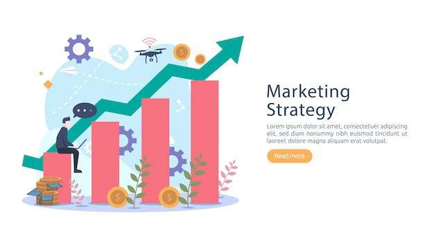 Digitales marketingstrategiekonzept mit kleinem leutecharakter. Premium Vektoren