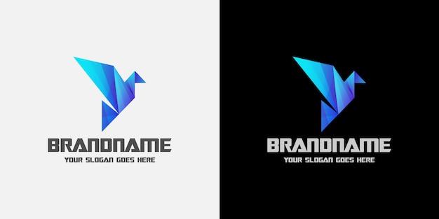 Digitales origami-vogelblau-logo Premium Vektoren