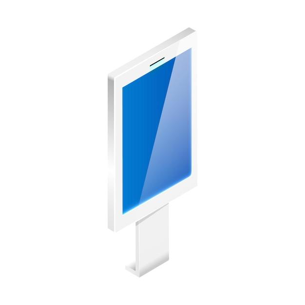 Digitales schild mit isometrischer darstellung der interaktiven anzeige isoliert Premium Vektoren