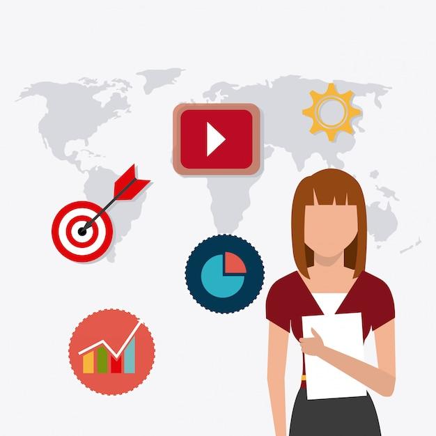 Digitales und soziales marketing Kostenlosen Vektoren