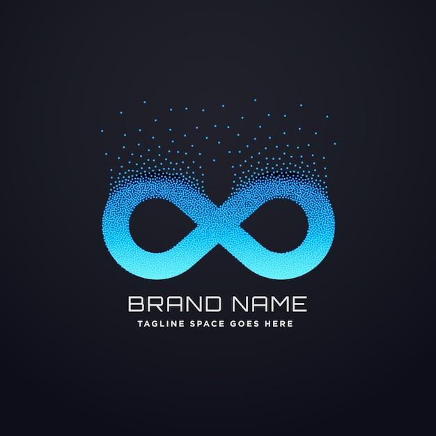 Digitales unendlich-logo-design mit florierenden partikeln Kostenlosen Vektoren