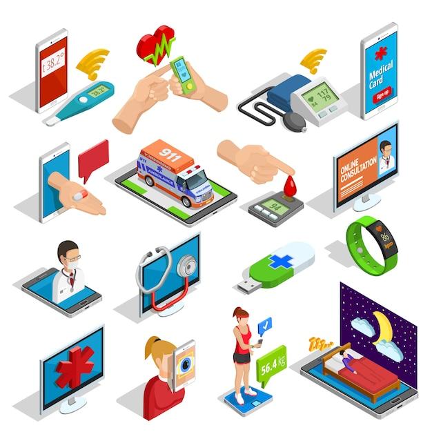 Digitalmedizin-isometrische ikonen eingestellt Kostenlosen Vektoren