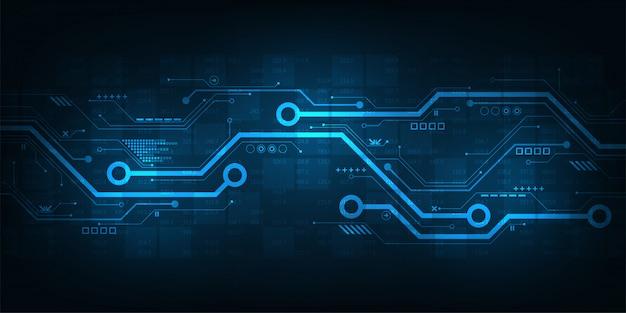 Digitalschaltungsdesign auf einem dunkelblauen hintergrund. Premium Vektoren