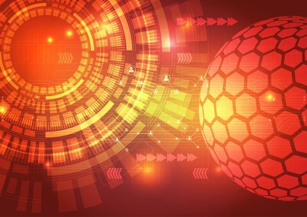 Digitaltechnik-stromkreis-zusammenfassungs-hintergrund-illustration Premium Vektoren