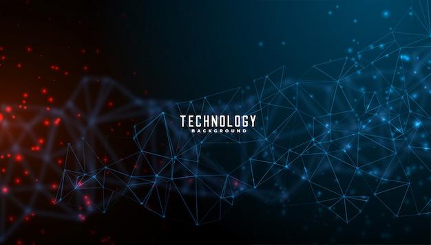 Digitaltechnik- und partikelmaschen-hintergrunddesign Kostenlosen Vektoren