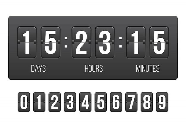Digitaluhr, countdown, in kürze verfügbar. Premium Vektoren