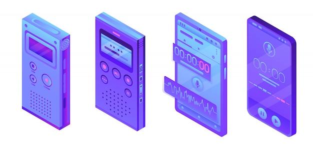 Diktaphonikonen eingestellt, isometrische art Premium Vektoren