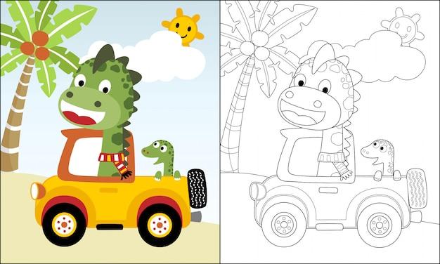 Dino-cartoon auf lkw im sommerurlaub Premium Vektoren