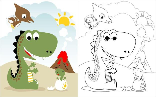 Dino-familienkarikatur Premium Vektoren