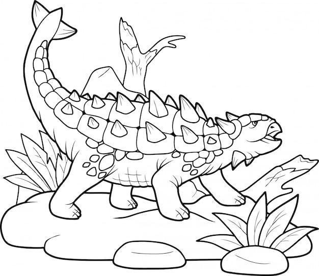 Dinosaurier ankylosaurus, Premium Vektoren