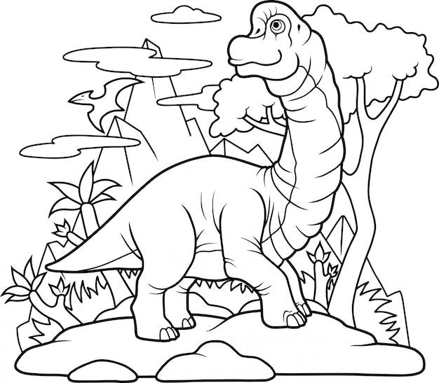 Dinosaurier brachiosaurus Premium Vektoren