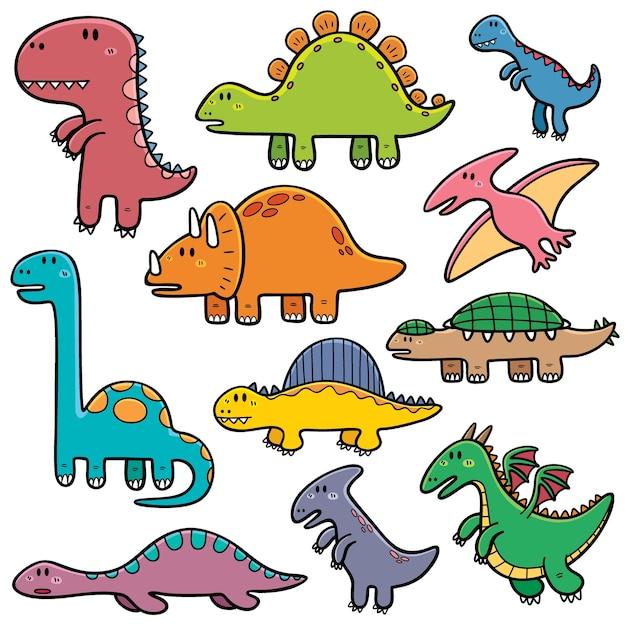 Dinosaurier Cartoon Set Download Der Premium Vektor