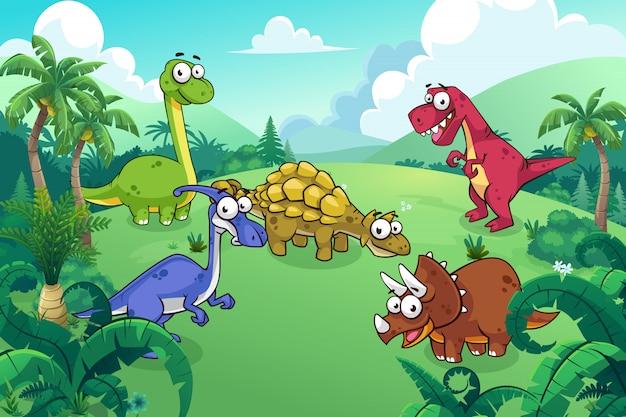 Dinosaurier in einem wilden Premium Vektoren