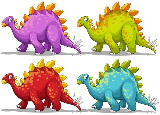 Dinosaurier in vier verschiedenen farben Kostenlosen Vektoren