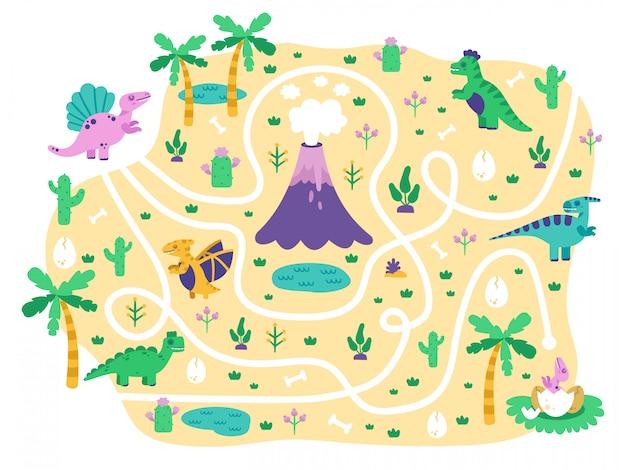 Dinosaurier kinder labyrinth. dino mutter finden eier kinderspiel, niedlichen doodle dino pädagogischen jurassic park labyrinth puzzlespiel, illustration. dinosaurier im labyrinth und labyrinthweg zum spielen Premium Vektoren