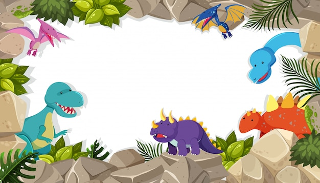 Dinosaurier-rahmen-thema-konzept Premium Vektoren