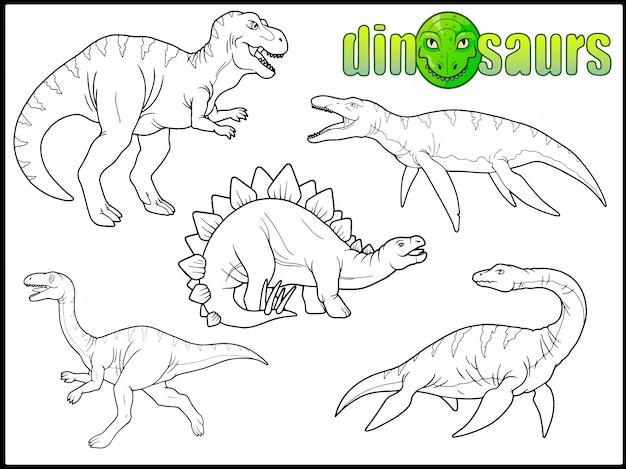 Dinosaurier-set Premium Vektoren