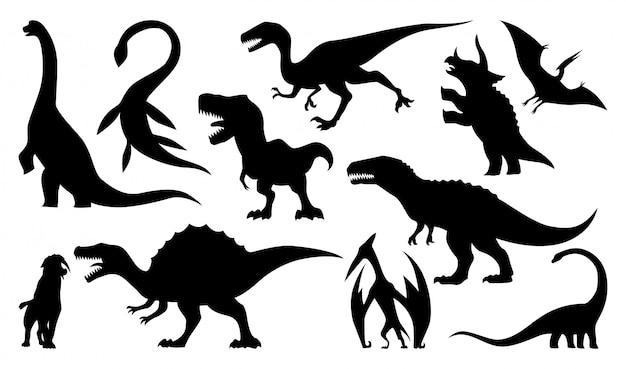 Dinosaurier-silhouetten eingestellt Premium Vektoren