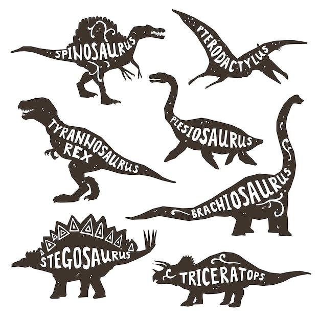 Dinosaurier-silhouetten mit schriftzug Kostenlosen Vektoren