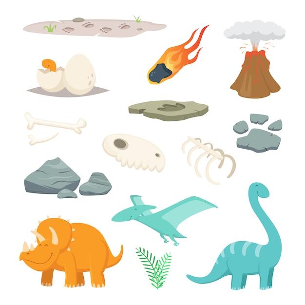 Dinosaurier, steine und andere symbole der vorgeschichte Premium Vektoren