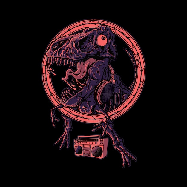 Dinosaurier tanzende grafische illustration Premium Vektoren
