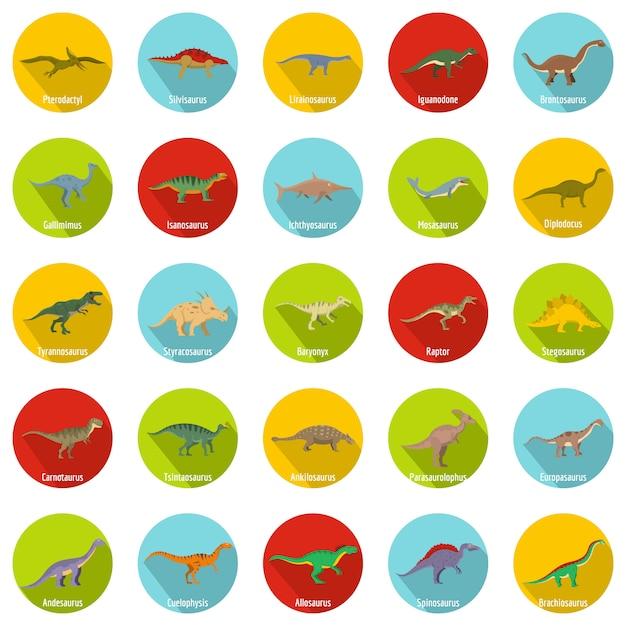 Dinosaurier-typen unterzeichneten namensikonen stellten, flache art ein Premium Vektoren
